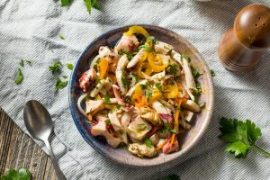 Italian Homemade Cold Seafood Salad with Fish Mussels and Octopus